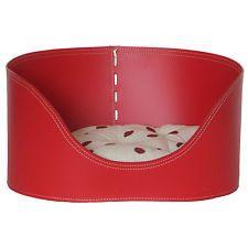 JOHNNY 60: cuccia per cani e gatti in cuoio colore rosso con cuscino removibile