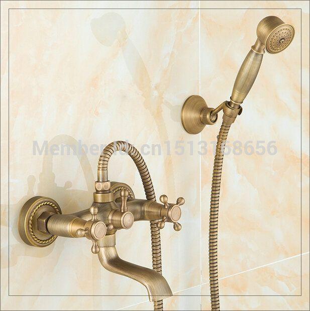 Купить товар2 Handles ручной душ комплект античная латунь смеситель для душа настенные смесительного клапана смесители античная в категории Смесители для ванной и душана AliExpress.            &