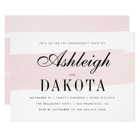 Pink Watercolor Brush Stroke Engagement Party Card - tap, personalize, buy right now!