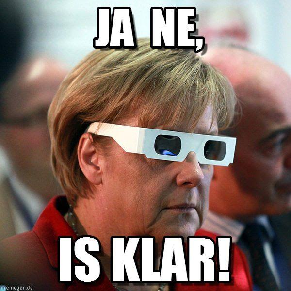 merkel ja ne is klar | memes-german | Mens sunglasses ...