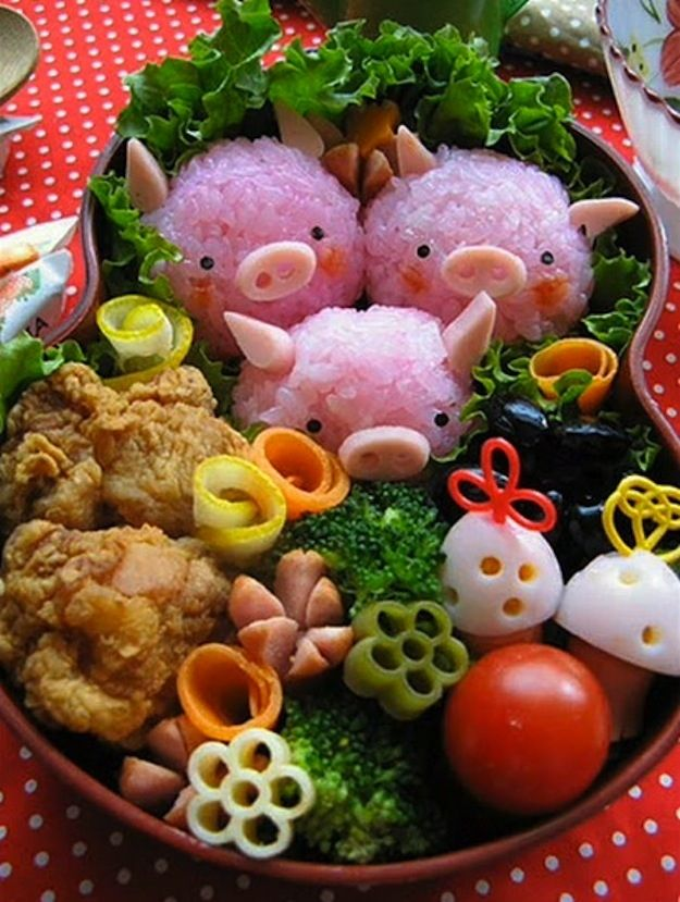 Pigs for lunch: Idea, Bento Boxes, For Kids, Three Little Pigs, Lunches Boxes, Boxes Lunches, Foodart, Food Art, Lunchbox