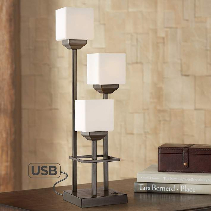 Light Tree 3 Light Bronze Console Table Lamp With Usb 55m39 Lamps Plus In 2020 Console Table Lamp Lantern Table Lamp Lamp
