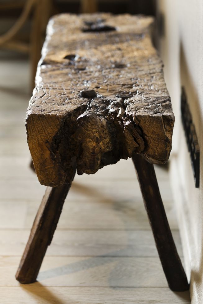 Reclaimed wooden bench for the end of the bed