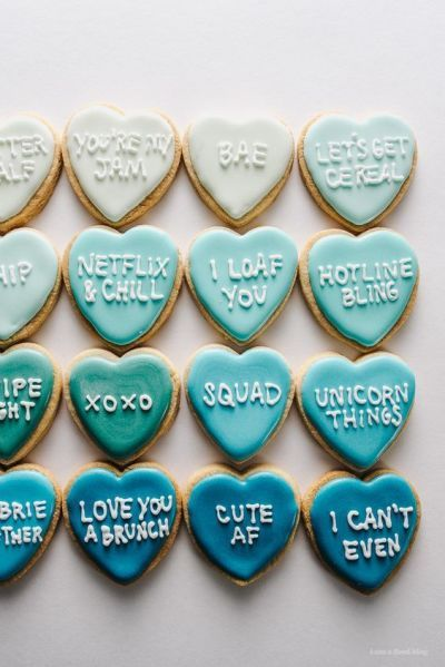 Conversation heart cookies: http://www.stylemepretty.com/living/2017/02/09/last-minute-valentine-diys-for-everyone-from-your-bestie-to-your-bae/