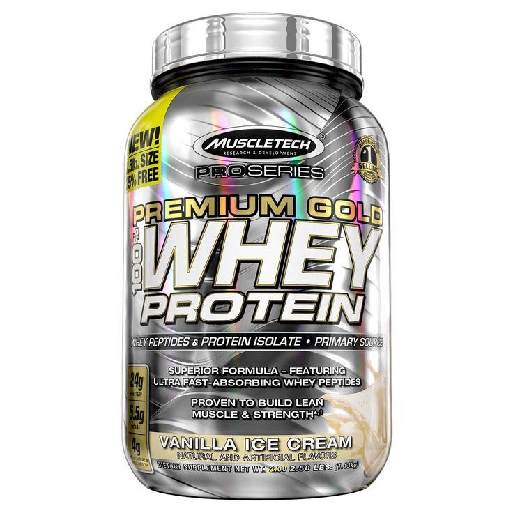 Muscle Tech Premium Gold Whey Protein Powder Vanilla Ice Cream - 2.5lbs