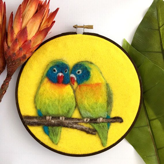 Needle Felted Lovebirds Wool Felted Parrots Hoop Wall Art