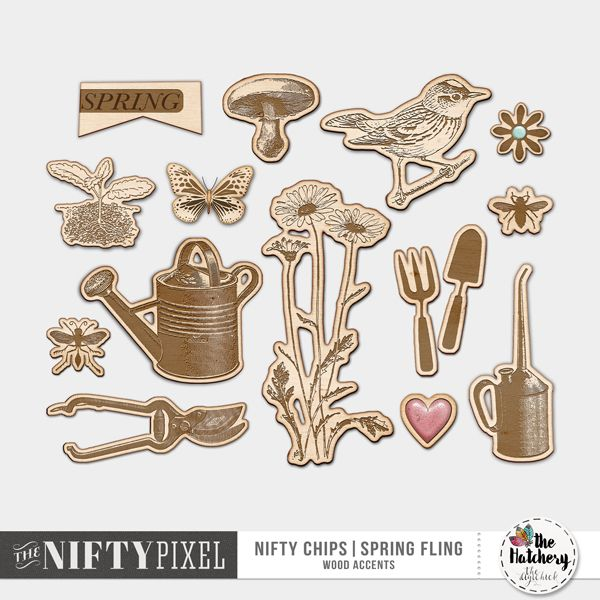 NIFTY CHIPS | Spring Fling This pack of S.P.R.I.N.G inspired woodchips are a fun way to add a few extra touches of the outdoors to your projects. They are also great for filling those pesky gaps in your designs. Try adding the woodchips in place of a word to create some fun titles and journaling.  DOWNLOAD INCLUDES:  14 Woodchip Accents
