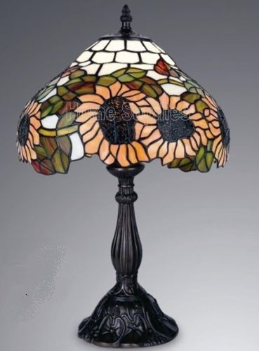 """SUNFLOWERS TIFFANY STYLE REAL STAINED GLASS TABLE LAMP 12"""" WIDE"""