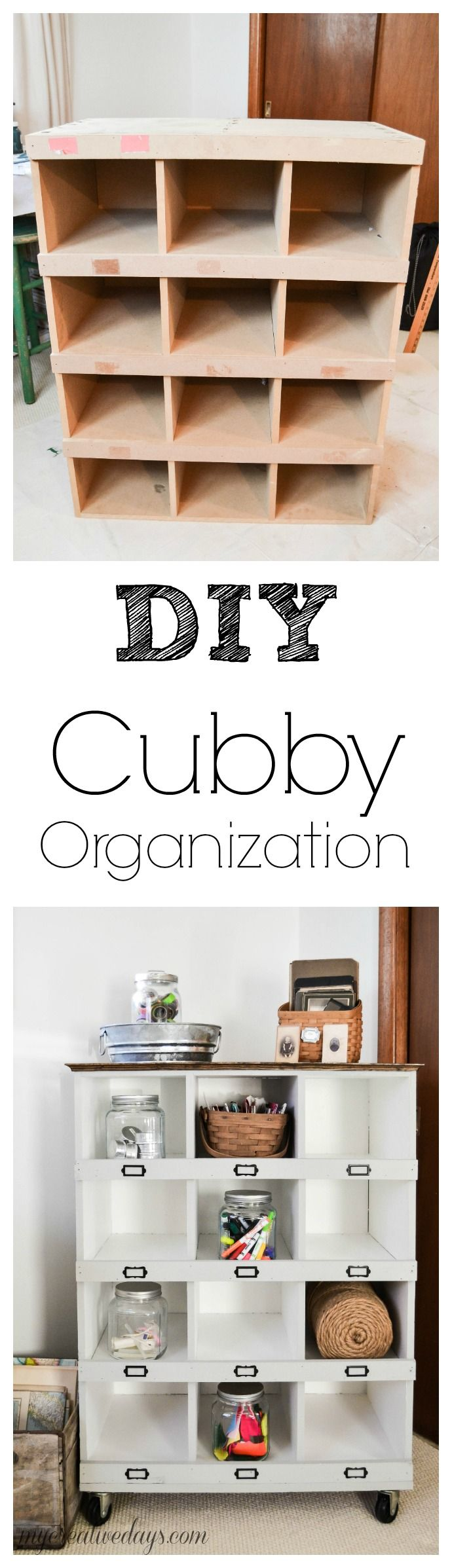 DIY Cubby Organization | Upcycled furniture | Home organizing idea