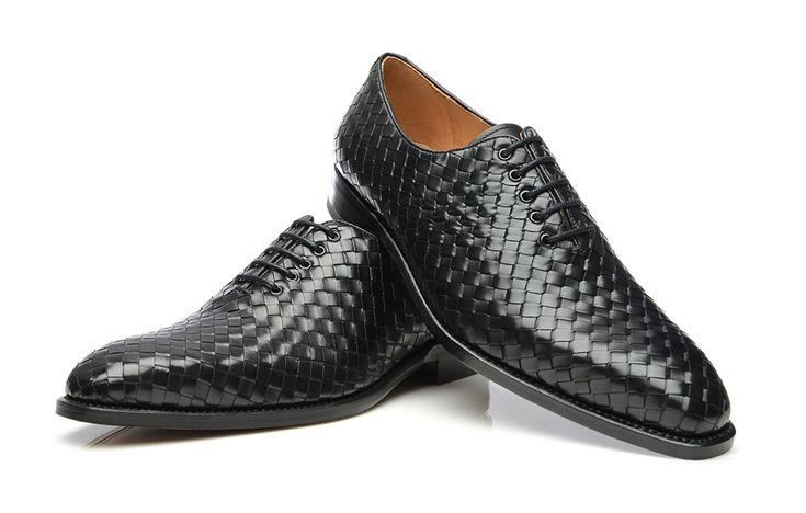 SHOEPASSION.com – Goodyear-welted woven Oxford in black