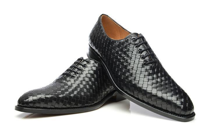 Model No. 360 - szyte ramowo & plecione buty Oxford w kolorze czarnym