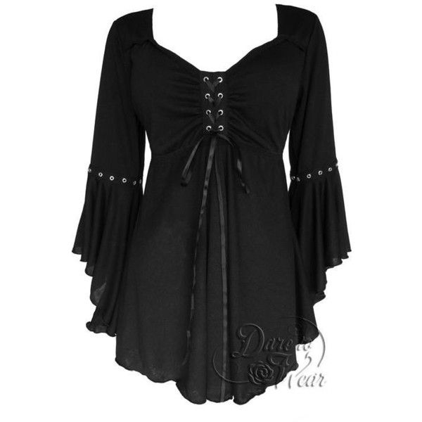 Ophelia Gothic Top in Black ($60) ❤ liked on Polyvore featuring tops, lace-up tops, front lace corset, laced up top, corset tops and goth corset