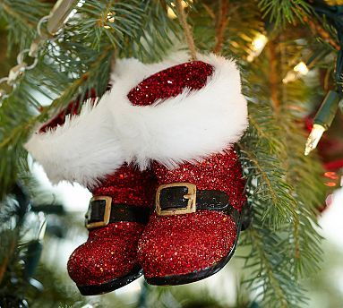 Red Glitter Santa Boots Ornament Potterybarn Christmas