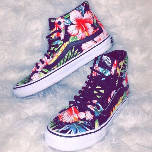 HIGH TOP VANS Colorful Hawaiian flower high top VANS only worn a couple of times Vans Shoes Sneakers