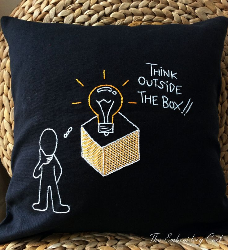 "Hand Embroidered inspirational ""Think Outside The Box"" cushion cover for office!! #handembroidery #inspirational #cushion #anthracitegrey"