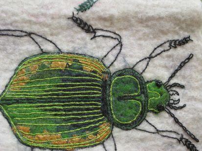 Green beetle in felt and stitch by Helen Richardson. www.helenrichardsonartist.weebly.com