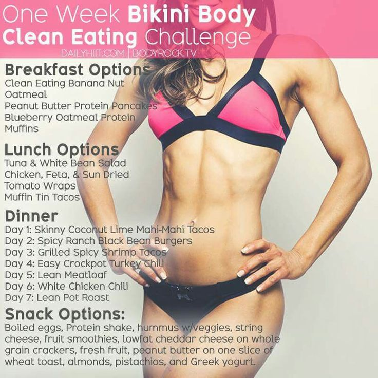Bikini body - clean eating challenge   http://www.bodyrock.tv/food/one-week-bikini-body-clean-eating-challenge/