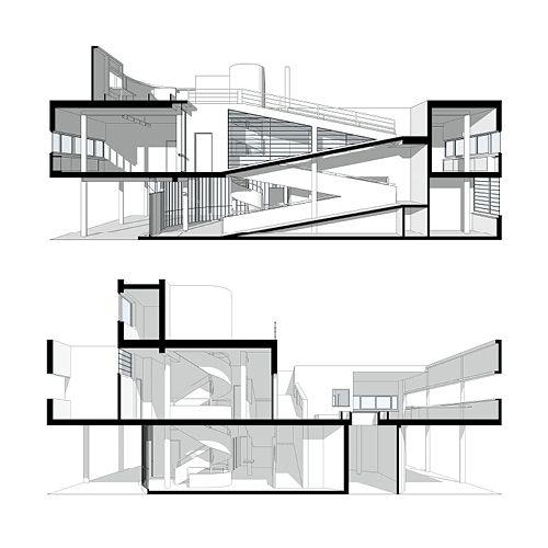 Villa Savoye Final Axonometric + Plans + Sections Architects Le