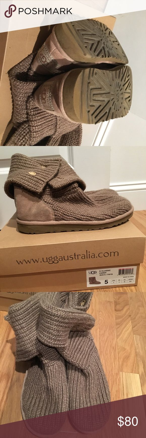 Uggs classic Cardy. Tan size 5. Sweater style UGG classic cardy boots. Used a only a handful of times.  Size 5 (I️ wear a ladies 7 these fit my foot fine!) UGG Shoes Winter & Rain Boots