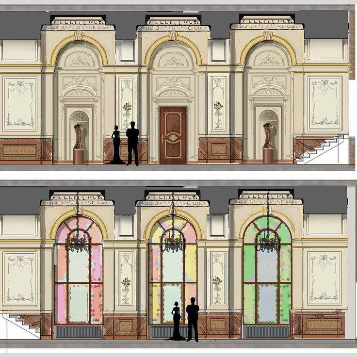 Первый эскиз нового помещения. Коридор соединяет центральную и восточную части дома. Для оценки размера помещения привыкла на эскизах изображать людей. Это лучше для восприятия чем просто габаритные размеры помещения. #проектирование #декор#дизайн#интерьер#классика#projectinterior#decor#design#interior#classicinterior