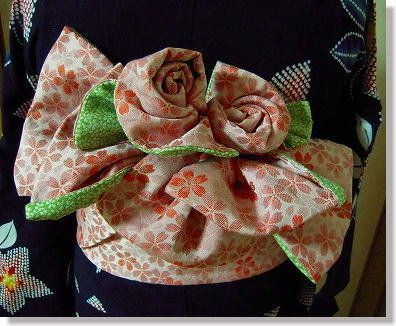 Han Haba OBI (half width Sash Belt) for YUKATA I would like to learn how to tie like this rose obi! Beautiful!!