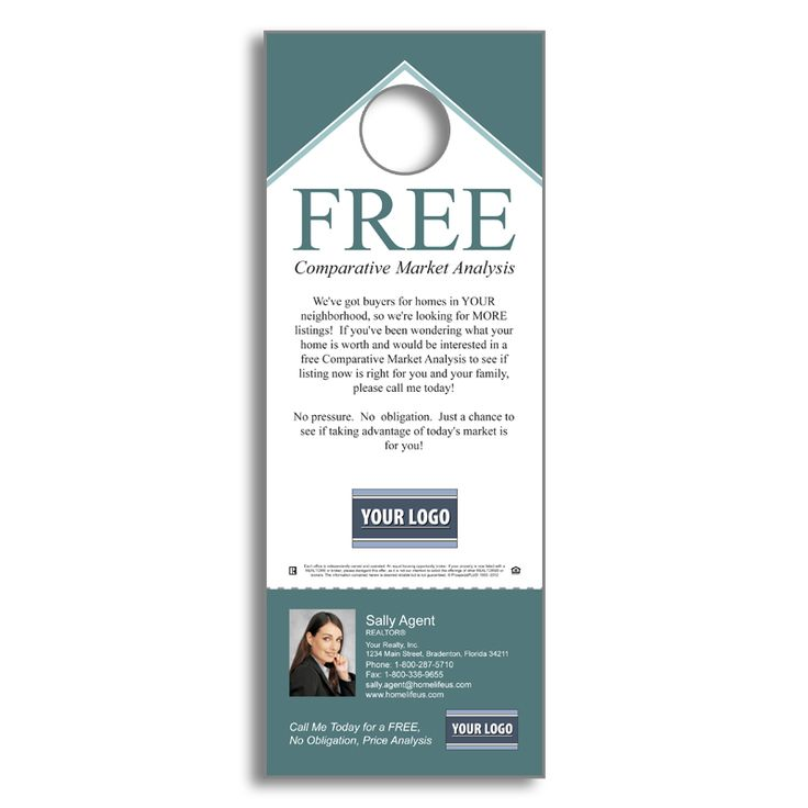 Real Estate Listing Inventory - Free Comparative Market Analysis - Door Hanger