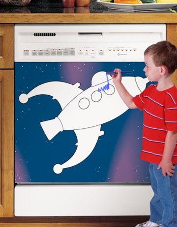 Kids Rocket Dry Erase Board Custom Dishwasher Cover. Cheap Kitchen Appliance Improvements.