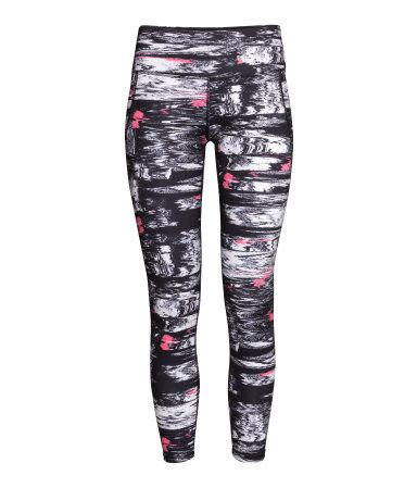 Ankle-length printed workout leggings in fast-drying, functional fabric. Wide ribbing at waist with concealed mesh key pocket.   H&M Sport
