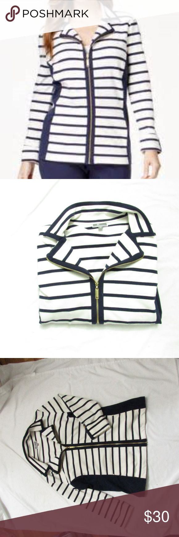 JM Collection Nautical Striped zip jacket Medium JM Collection Nautical Stripe zip up jacket, size medium. White and navy blue with gold zipper and accents. Has a small mark, as shown in photo. JM Collection Jackets & Coats