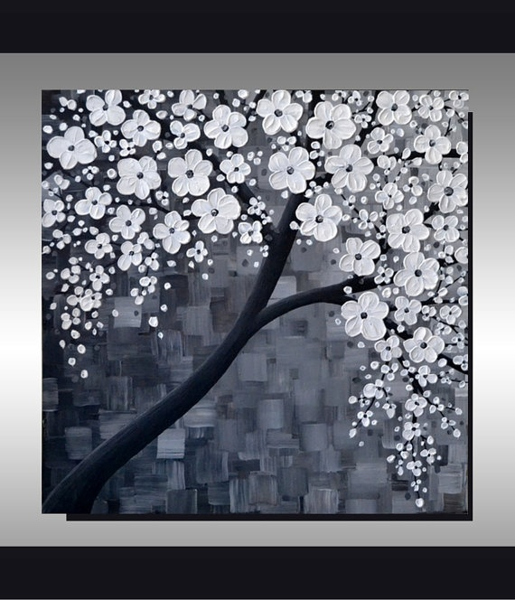 ORIGINAL Textured Art Contemporary Black and White by ZarasShop, $199.00