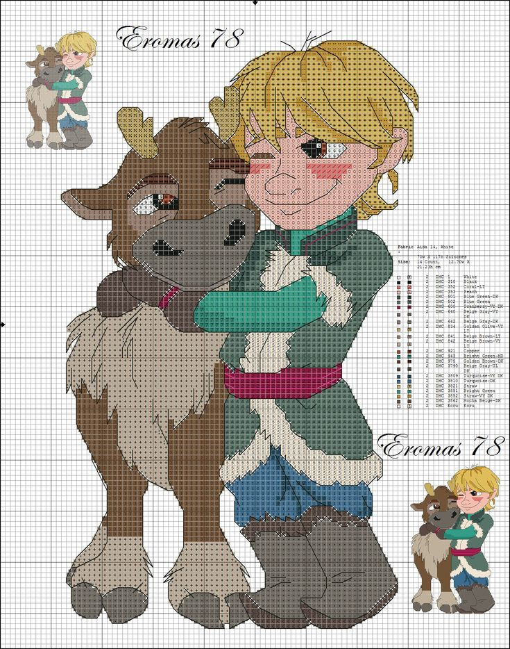 Picture only - Sven and Kristoff Disney Frozen cross stitch pattern