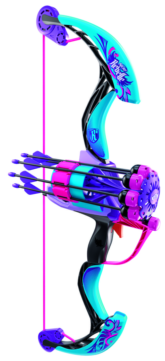 Sneak Peek as seen on toys.about.com at the Newest NERF Rebelle Arrow Revolution Bow! Available Fall 2015, includes 6 whistling foam darts that travel up to 90 feet.