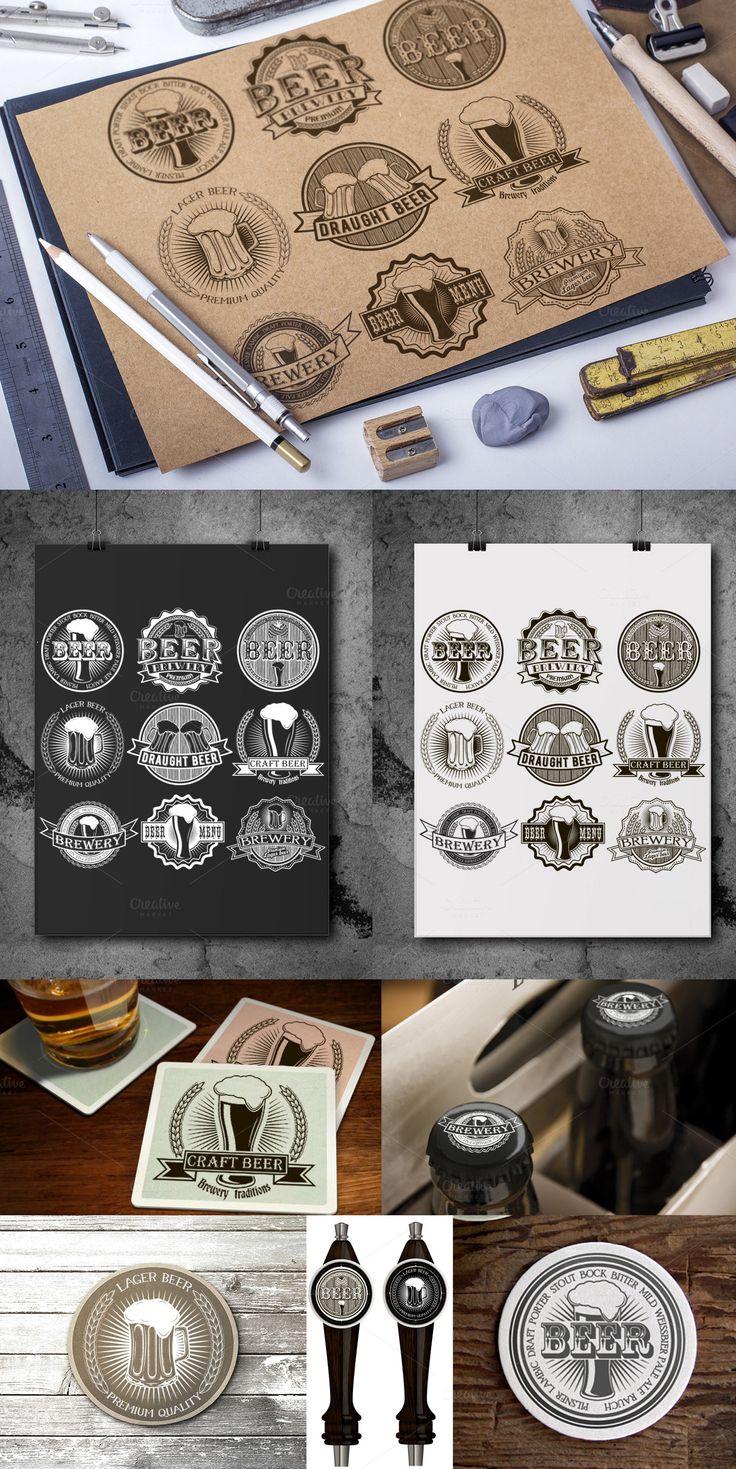 9 Vintage brewery beer logos Template #design Download: https://creativemarket.com/SiberianArt/383918-9-Vintage-brewery-beer-logos?u=ksioks