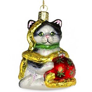 Holiday Kitten Old World Christmas Glass Hand Blown Ornament Holiday Gift Idea
