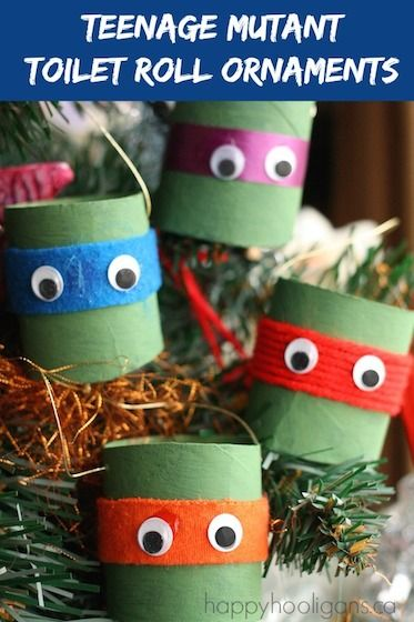 Teenage Mutant Ninja Turtle Ornaments made from cardboard tubes. So cute! From Happy Hooligans