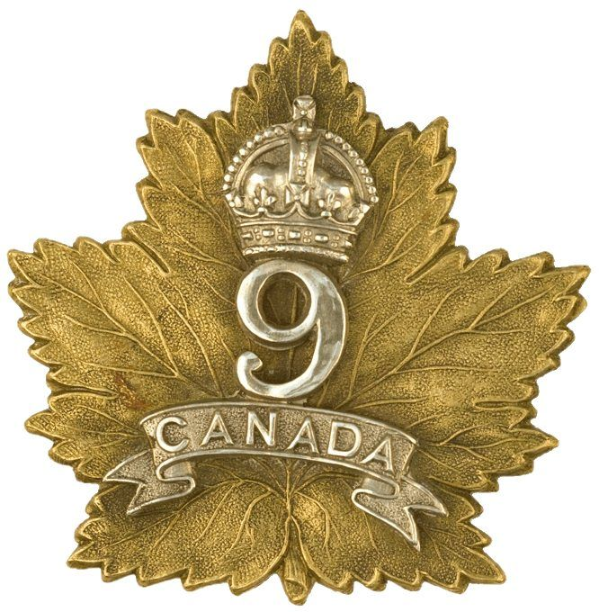 CEF - Cap Badge - 9th Canadian Infantry Battalion - Edmonton, Alberta. This is one of the many Maple Leaf motifs used by many different battalions. WW1.