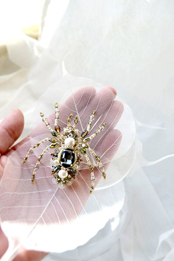 Beautiful spider jewelry ooak spider brooch by PurePearlBoutique