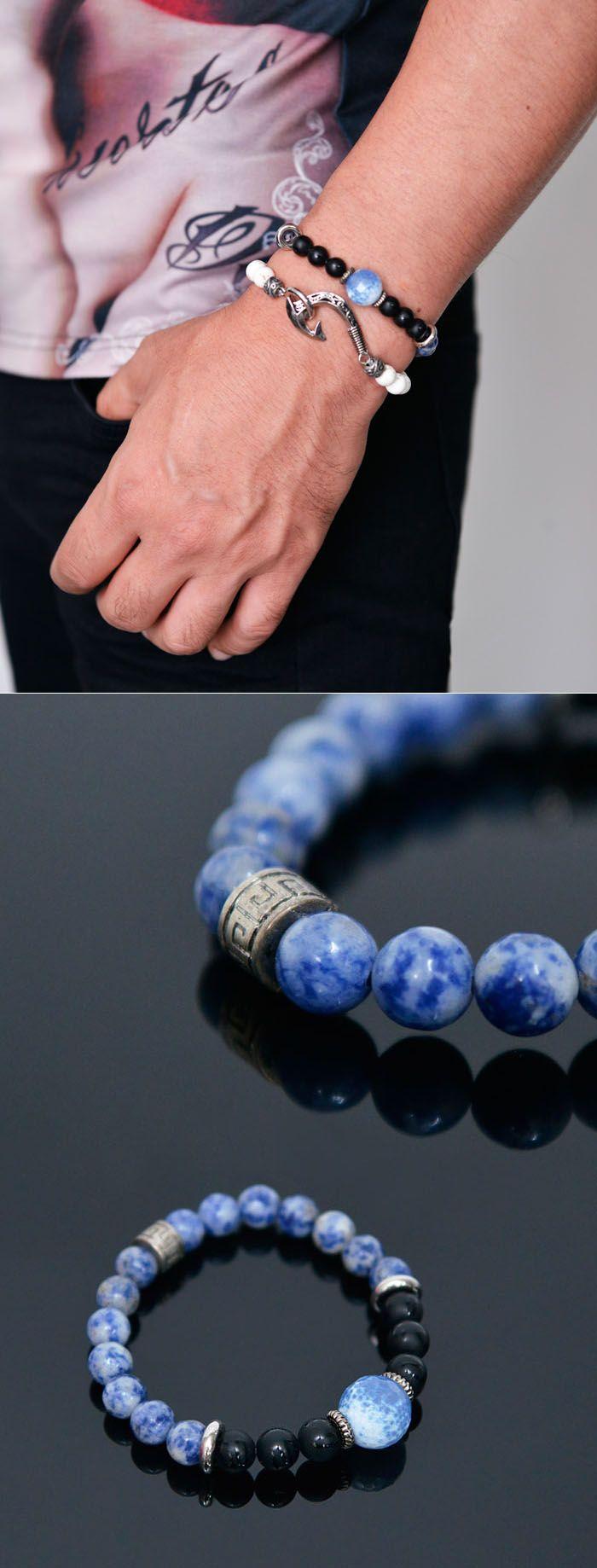 Blue Moon Sodalite Beads-Bracelet 377  by Guylook.com  #blue #bracelet #summer #accessories #style #stylish #cool #남자 #패션 #스타일