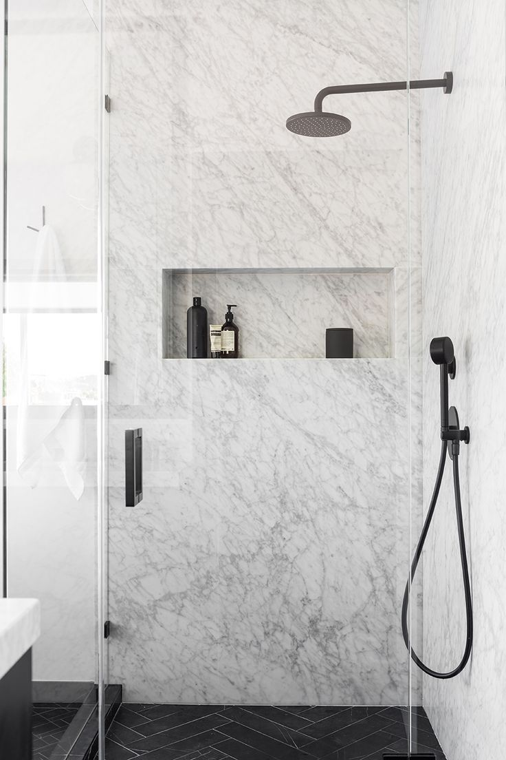 San Francisco Apartment | Interior Design - Bathroom - Marble - Shower #NICOLEHOLLIS Photo by Laure Joliet