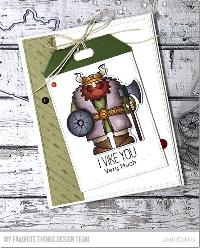 Stamps: Viking Die-namics: Viking, Stitched Traditional Tag STAX, Tag Builder Blueprints 5, A2 Rectangle STAX Set 1, A2 Stitched Rectangle STAX Set 2 Jodi Collins #mftstamps