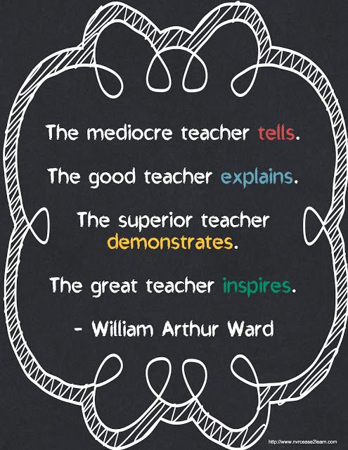 "What kind of teacher are you?  I'm not just talking about the ""teachers""  who spend all day with our children either.  The great teacher inspires - William Arthur Ward"