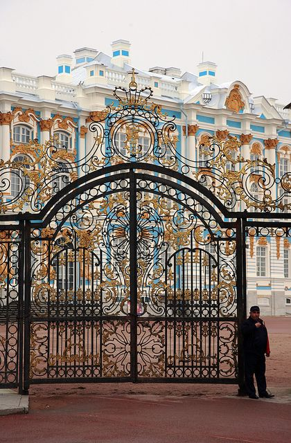 Tsarskoe Selo (Pushkin) ,15 miles south of Saint Petersburg,Russia.  These are the beautiful gates to the immense parade ground forecourt of the Catherine Palace.  The gates are original mid-eighteenth century, having survived the ravages of the Nazi occupation.