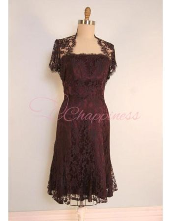 A Line Strapless Knee Length French Chantilly Lace Mother Of The Bride Dress Style DR17