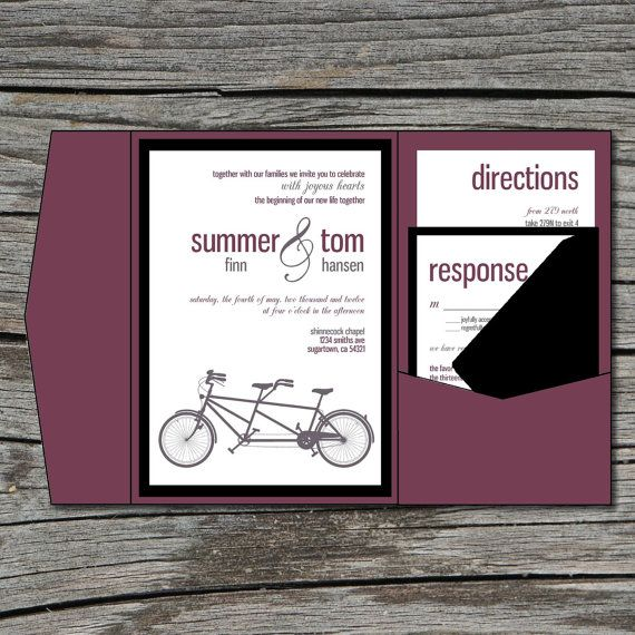 Mariage Invitation, bricolage, Pocketfold, vélo Tandem, imprimable, fichier numérique par ticklemeink sur Etsy sur Etsy, $45.05