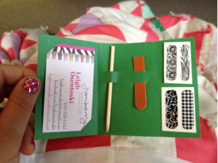 Super cute idea for sending out samples. Let me know if you would like to try a Jamberry Nails sample! Www.manisbymichelle.jamberrynails.net. Michellejo77@gmail.com