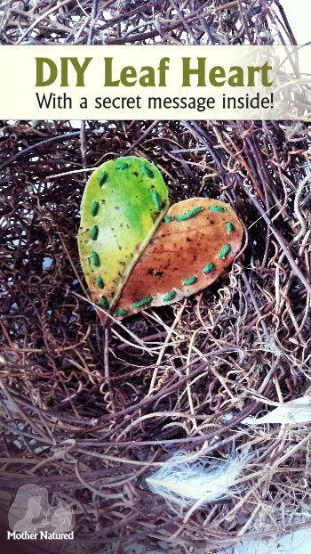 A sewn Leaf Heart with a secret message inside!