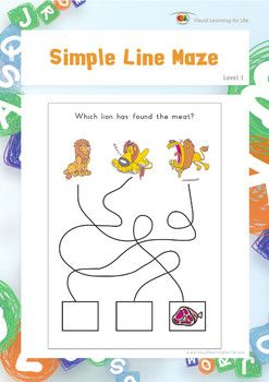 """In the """"Simple Line Maze"""" worksheets, the student must follow each of the lines to find which picture connects to the box with the image.   Available at www.visuallearningforlife.com on the Visual Perceptual Skills Builder Level 1 CD."""