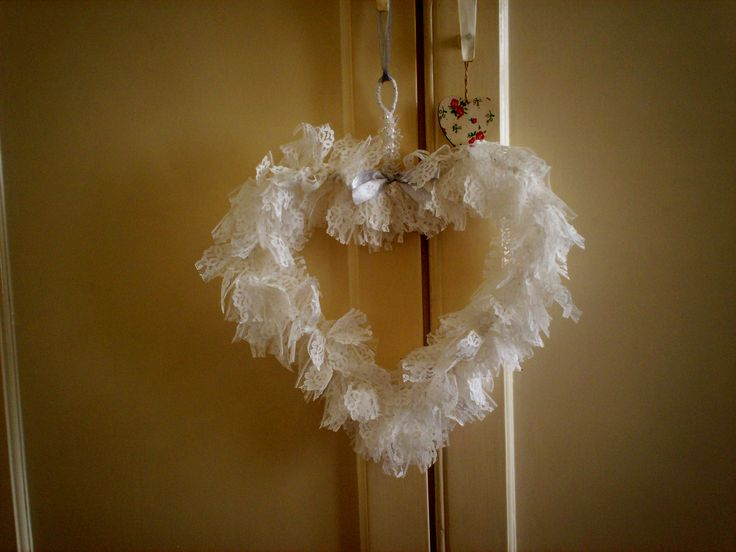 handmade vintage lace shabby chic heart wreath