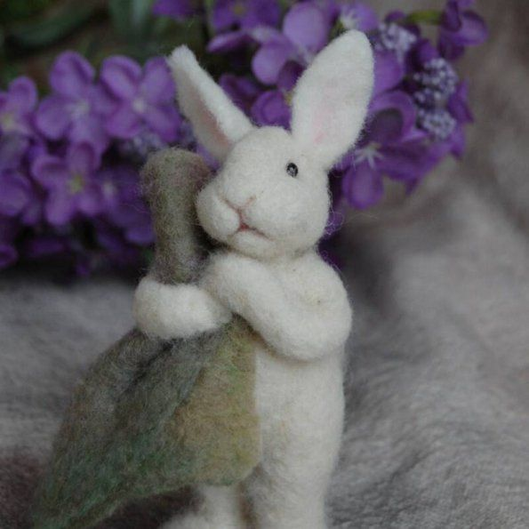 Adorable bunny with security blanket,  Felted By Teresa Perleberg