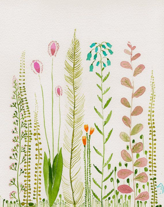 Garden  original watercolor by zuhalkanar on Etsy, $35.00